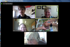 Zoom meeting between MSU Extension educators Janis Brinn and Betty Jo Krosnicki, Michigan 4-H resource leader Renee Applegate, Michigan 4-H teen leader Jonah W., Poland 4-H educator Grazyna Tucholska and Poland teen leaders.