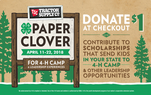 Spring 4-H Paper Clover Campaign launches April 11 at local Tractor Supply Company stores