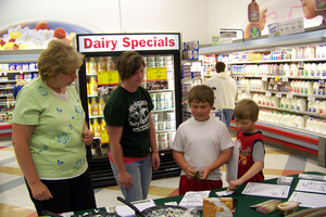 Volunteers from local dairy farms and 4-H groups passed out recipes and answered questions about dairy products and dairy farming at several grocery stores throughout Michigan.