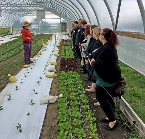 Students touring greenhouse.