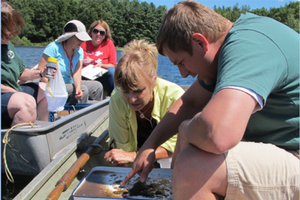 Investigating lake health at Kellogg Biological Station | Photo by Jane Herbert