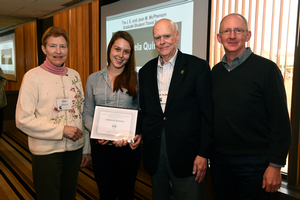 Jean and Jay McPherson with the first recipient of their new travel award, Gabriela Quinlan and advising professor Rufus Isaacs.