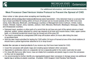 Meat Processor Deer/Venison Intake Protocol to Prevent the Spread of Chronic Wasting Disease