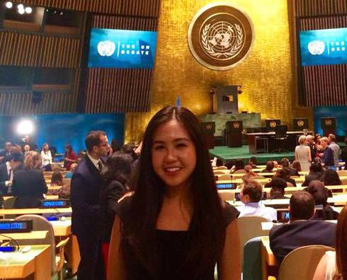 Kayla Zhu in the General Assembly Hall at the UN debate for the election of the next UN Secretary-General.