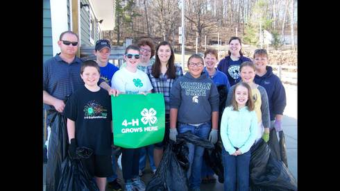 4-H youth and volunteers at the Emmett County Fairgrounds clean-up.