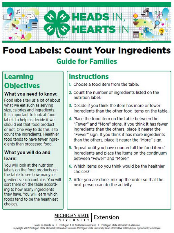 Food Labels: Count Your Ingredients cover page.