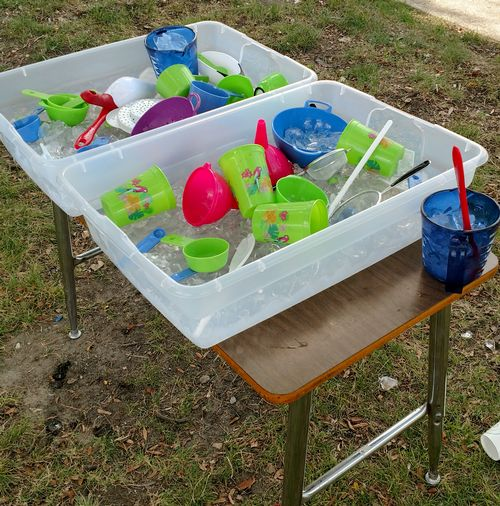 Homemade ice sensory table.