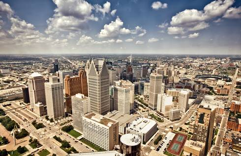 A picture of downtown Detroit