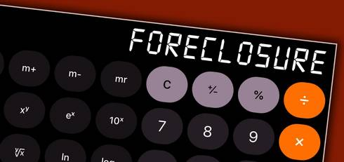 The word foreclosure written on a calculator