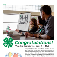 The first page of the document for 4-H club secretary