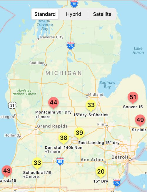 Map of Michigan with pins scattered throughout.