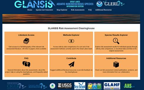 Screenshot shows the front page of the Risk Assessment Clearinghouse website page.