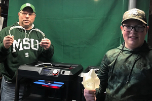 MSU faculty member Phil Hill and his son, Eddie, have been printing masks and face shield components to support a local coronavirus initiative.