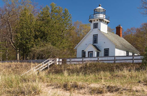 Old Mission Point Lighthouse on Old Mission Peninsula, Traverse City, Michigan.