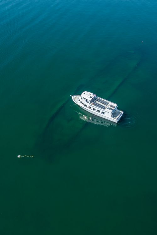 Alpena Shipwreck Tours offers visitors a trip out on Lake Huron and an underwater view of the shipwreck W.P. Rend. Photo: NOAA Thunder Bay National Marine Sanctuary