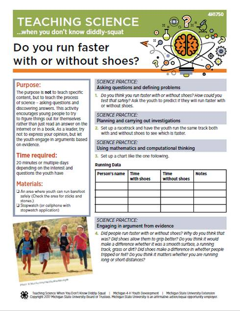Do you run faster with or without shoes? Cover.