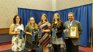 The 2015 NAILE Michigan 4-H Dairy Judging Team, from left: Allison Schafer, Skylar Buell, Cameron Cook, Madeline Meyer and Dr. Joe Domecq. Photo credit: Jessica Jakubik | MSU Extension