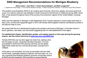 Spotted wing Drosophila management guidelines in Michigan blueberries