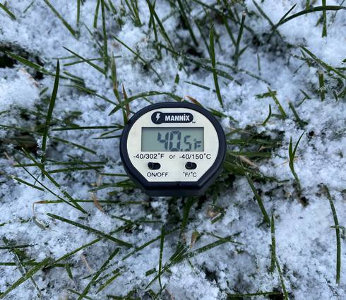 Soil temperature on snowy grass