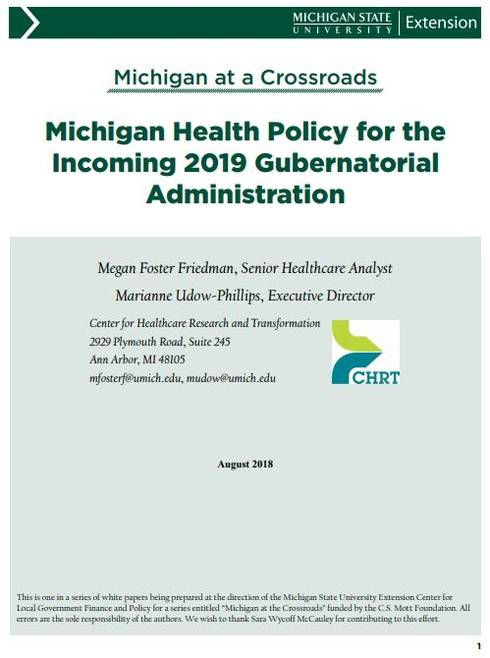 Michigan Health Policy for the Incoming 2019 Gubernatorial Administration cover