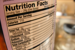 Nutrition facts label on a packaged food item.
