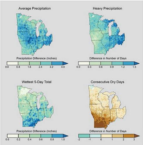 Maps show projected changes for the middle of the current century (2041-2070) relative to the end of the last century (1971-2000) across the Midwest under continued emissions. Source: NOAA NCDC / CICS-NC.