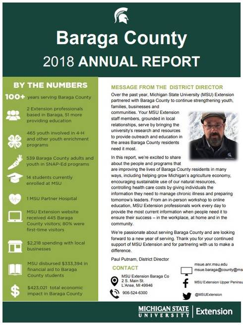 Baraga County Annual Report 2018-19 cover