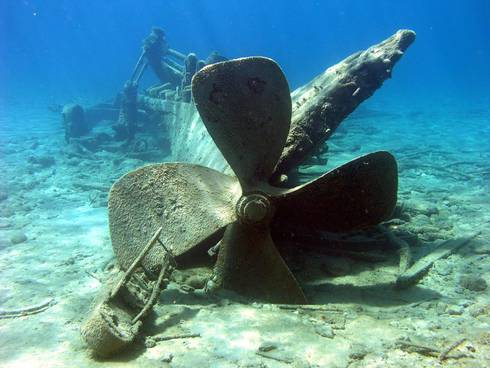 The propeller of the Monohansett can be seen at the Thunder Bay National Marine Sanctuary in Alpena. Photo: NOAA/Thunder Bay National Marine Sanctuary