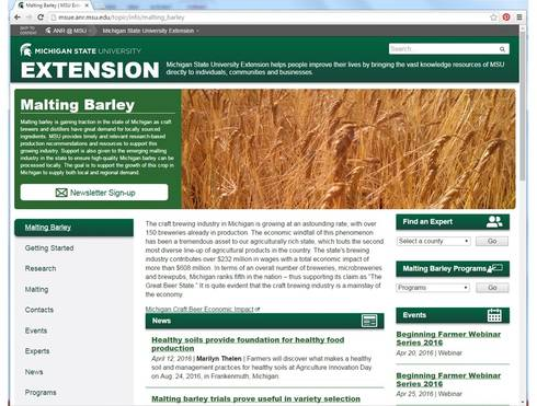 New homepage for the MSU Extension malting barley website.
