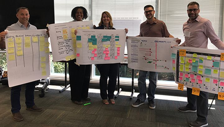 Training participants showing the results of their group work during an NCI charrette training in Raleigh, North Carolina.