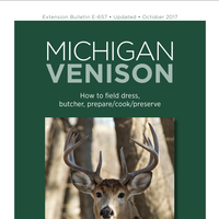 Front page of the Michigan Venison: How to field dress, butcher, prepare/cook/preserve document.