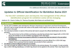 Updates to Official Identification for Exhibition Swine 2021