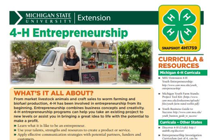 4-H Entrepreneurship Snapshot Sheet cover.