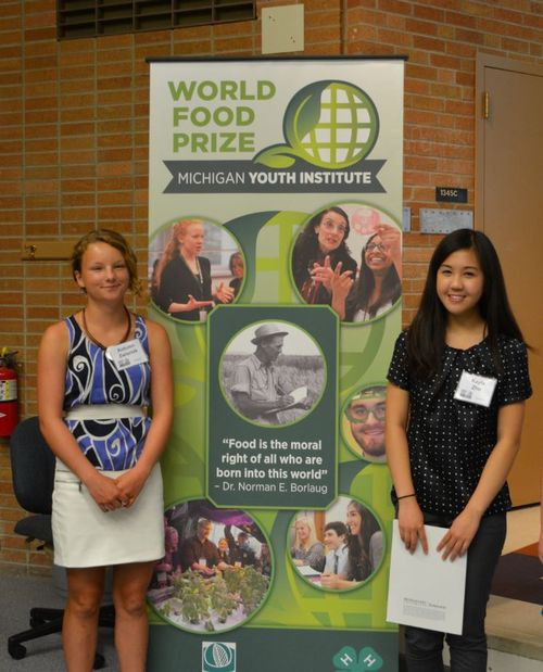 Two of the six candidates that will attend the World Food Prize Youth Institute, Autumn Zwiernik and Kayla Zhu. Photo credit: ANR Communications | MSU Extension