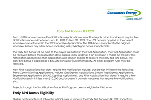 Consumers Energy Early Bird Bonus - Q1 2021