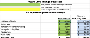 Freezer Lamb Pricing Worksheet