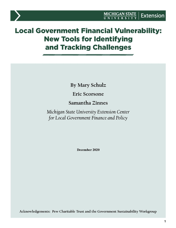 Front cover of report.