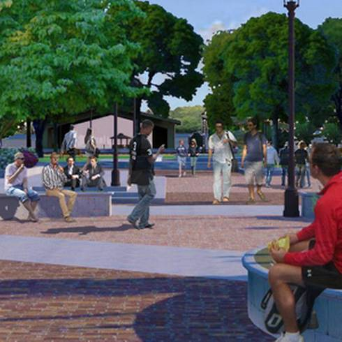 A public gathering place in Cadillac, MI, as envisioned by the SBEI process as part of the project.