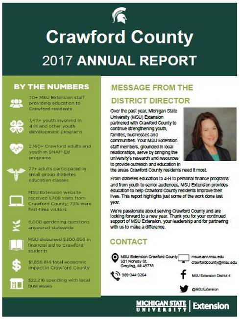 Cover of the Crawford County Annual Report 2017-18