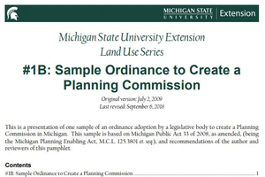 #1B: Sample Ordinance to Create a Planning Commission cover