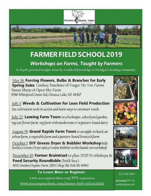 A flyer for the 2019 Farmer Field School workshop.