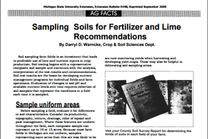 Sampling Soils for Fertilizer and Lime Recommendations and Frequency of Soil Sampling (E0498)