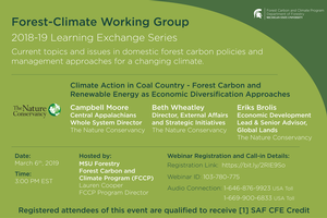 Announcement for The Nature Conservancy's March 6th FCWG Learning Exchange Series Session.