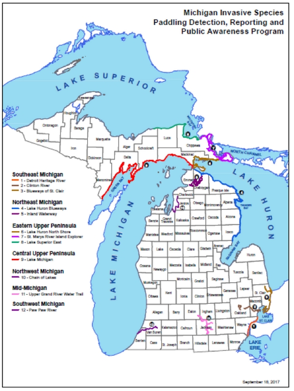 The Paddling Detection, Reporting and Public Awareness Program will be conducted statewide on and around 12 established Michigan water trails. Map Credit: Land Information Access Association