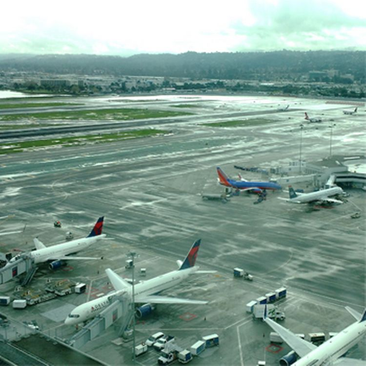 View from above of the San Francisco International Airport.
