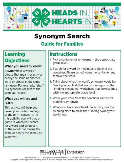 Synonym Search cover page.