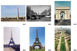Group of images of monuments and streets in Paris representing photos from a theme that are also diverse content.