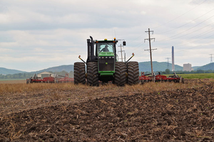Tilling the field. | Photo courtesy of United Soybean Board or the Soybean Checkoff