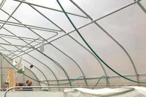 Students in the RISE program harvest from one of the group's hoop houses on campus