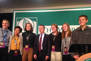 Andrew Smith (right) at the 2016 World Food Prize Global Youth Institute with Liam Condon (center), President, Crop Science and Board Member, Bayer AG.